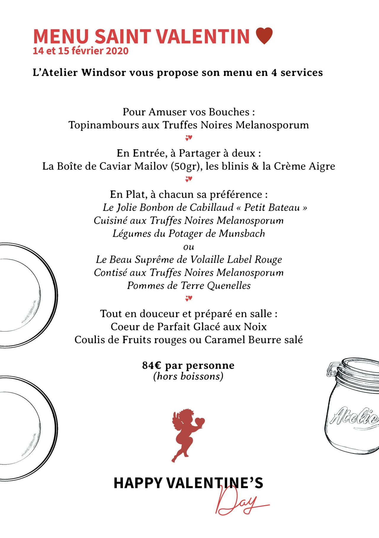 menu de la Saint Valentin 2020 Atelier Windsor Luxembourg